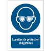 Panneaux ISO 7010 d'obligation à message vertical - Lunettes de protection obligatoires - M004
