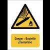 Panneau EN ISO 7010:2012 en aluminium avec message - Danger : Bouteille pressurisée - W029