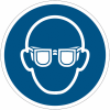 """Lot de 3 rouleaux de pictogrammes """"port de lunettes de protection obligatoire"""" NF EN ISO 7010 (2+1 gratuit)"""