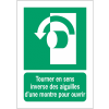 Panneaux ISO 7010 d'évacuation à message vertical - Tourner en sens inverse des aiguilles d'une montre pour ouvrir - E018