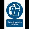 Panneaux ISO 7010 à message vertical - Visière de protection obligatoire - M013