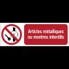 Panneaux ISO 7010 à message horizontal - Articles métalliques ou montres interdits - P008