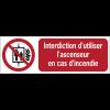 Panneaux ISO 7010 horizontaux Interdiction d'utiliser l'ascenseur en cas d'incendie - P020