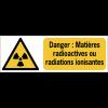 Panneaux ISO 7010 horizontaux Danger Matières radioactives ou radiations ionisantes - W003