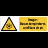 Panneaux ISO 7010 horizontaux Danger Basses températures, conditions de gel - W010