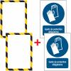 Porte-documents adhésifs à fermeture magnétique Gants de protection obligatoires