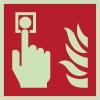Autocollants et panneaux photoluminescents NF ISO 7010 Point d'alarme incendie - F005