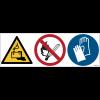 Pictogrammes ISO 7010 Danger Batterie, flammes nues, gants