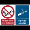 Pictogrammes combinés d'interdiction de fumer et autorisation de vapoter avec texte