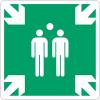 """Panneaux en aluminium carré """"Point de rassemblement après évacuation"""""""