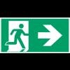 """Autocollants et panneaux avec fléchage NF EN ISO 7010 """"homme qui court à droite, flèche vers la droite"""" - E002"""