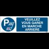 """Panneaux de parking """"Veuillez vous garer en marche arrière"""" - Matériau PVC"""