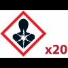 """Pack 20 pictogrammes CLP """"Risque mutagène, respiratoire, cancérigène ou pour la reproduction"""""""