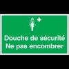 Marquage au sol avec texte et pictogramme - Douche de sécurité Ne pas encombrer - E012