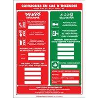 Affichage obligatoire à insert sur les consignes de sécurité en cas d'incendie