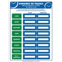 Affichage obligatoire à insert sur les horaires de travail
