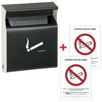 """Kit 1 cendrier plat et 2 autocollants """"Interdiction de fumer"""""""