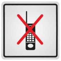"""Panneau d'information adhésif en acier """"Interdiction d'activer des téléphones mobiles"""""""