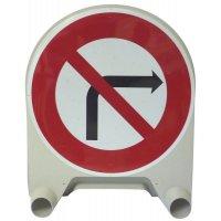 """Panneau de signalisation temporaire en polypropylène """"Interdiction de tourner à droite à la prochaine intersection"""""""