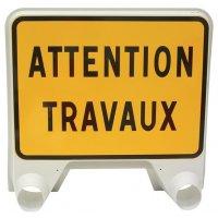 Panneau de signalisation temporaire en polypropylène - Attention travaux