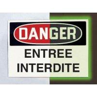 """Panneau d'avertissement photoluminescent type OSHA """"Entrée interdite"""""""