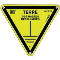 """Panneau Alumetal™ """"Danger, mise à la terre - Terre des masses métalliques"""""""