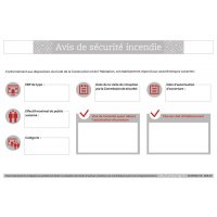 Consignes de sécurité spécifiques - Avis de sécurité incendie