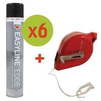 Kit 6 bombes aérosols de peinture Easyline® + 1 cordeau traceur offert