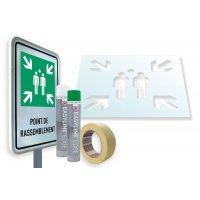 Kit panneau ISO 7010 - point de rassemblement + pochoir pour marquage au sol - E007