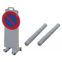 """Kit avec signalétique """"stationnement interdit"""" et 2 lests"""