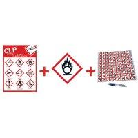 """Kit avec autocollants d'avertissement CLP et poster """"Matières comburantes"""" - GHS03"""