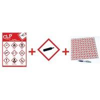 """Kit avec autocollants d'avertissement CLP et poster """"Gaz sous pression"""" - GHS04"""