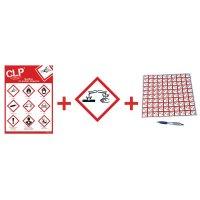 """Kit avec autocollants d'avertissement CLP et poster """" Substances corrosives """"- GHS05"""
