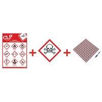 """Kit avec autocollants d'avertissement CLP et poster """"Substances toxiques catégorie 1, 2, 3"""" - GHS06"""