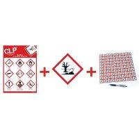 """Kit avec autocollants d'avertissement CLP et poster """"Danger pour le milieu aquatique""""- GHS09"""