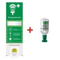 Station de lavage oculaire avec instructions