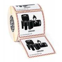 Etiquettes d'emballage adhésives - Batteries ou piles au lithium