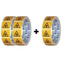 Lot de 3 rouleaux de pictogrammmes ISO 7010 Risque biologique - W009 (2+1 gratuit)