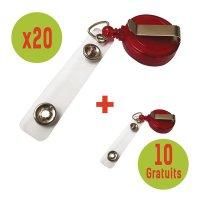 Kit de porte-badge enrouleurs (20 + 10 offerts)