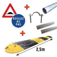Kit complet ralentisseur 2,5m ou 5m + Panneaux de Signalisation+ Fixations