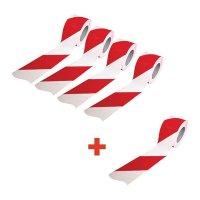 Lot de rubans de signalisation rayés rouge et blanc