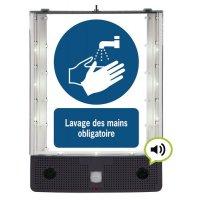 Panneau avertisseur sonore et visuel pour le lavage de mains