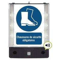 Panneau avertisseur sonore et visuel pour le port des chaussures de sécurité