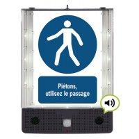 Panneau avertisseur sonore et visuel pour utilisation du passage piétons