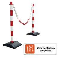 Kit poteaux à chaines et panneau zone de stockage