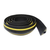 Protecteur de câbles noir-jaune économique en élastomère souple