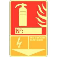 """Panneau photoluminescent à compléter """"Extincteur d'incendie - Feu d'origine électrique"""""""