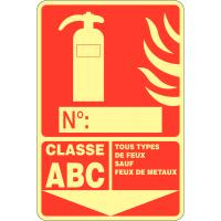 """Panneau photoluminescent à compléter """"Extincteur d'incendie - Classe ABC"""""""
