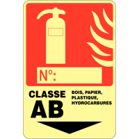 """Panneau photoluminescent à compléter """"Extincteur d'incendie - Classe AB"""""""