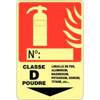 """Panneau photoluminescent à compléter """"Extincteur d'incendie - Classe D"""""""
